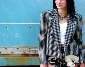 Vintage 1980s CROPPED CHECKERED Wool Jacket BLAZER