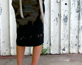 onemanband. original UPCYCLED Stormy Weather PENCIL SKIRT