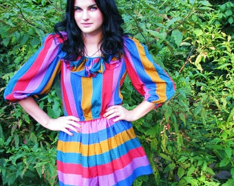 vintage 1980s CANDY striped DRESS with  Ruffles