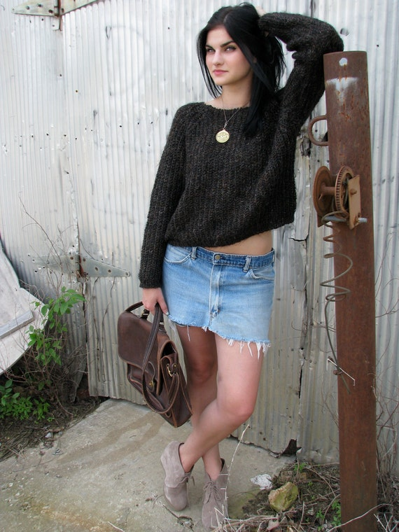 Vintage 1980s CROPPED Sweater in Metallic Brown