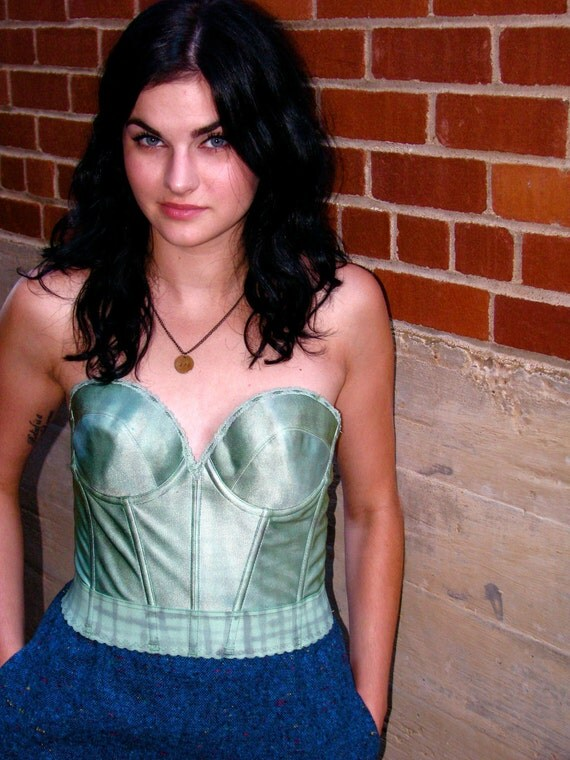 onemanband original GREEN Upcycled Structured BUSTIER 36 C