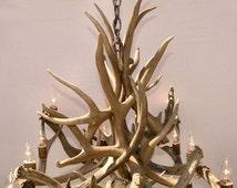 Med Rectangular Mule Deer Chandelier