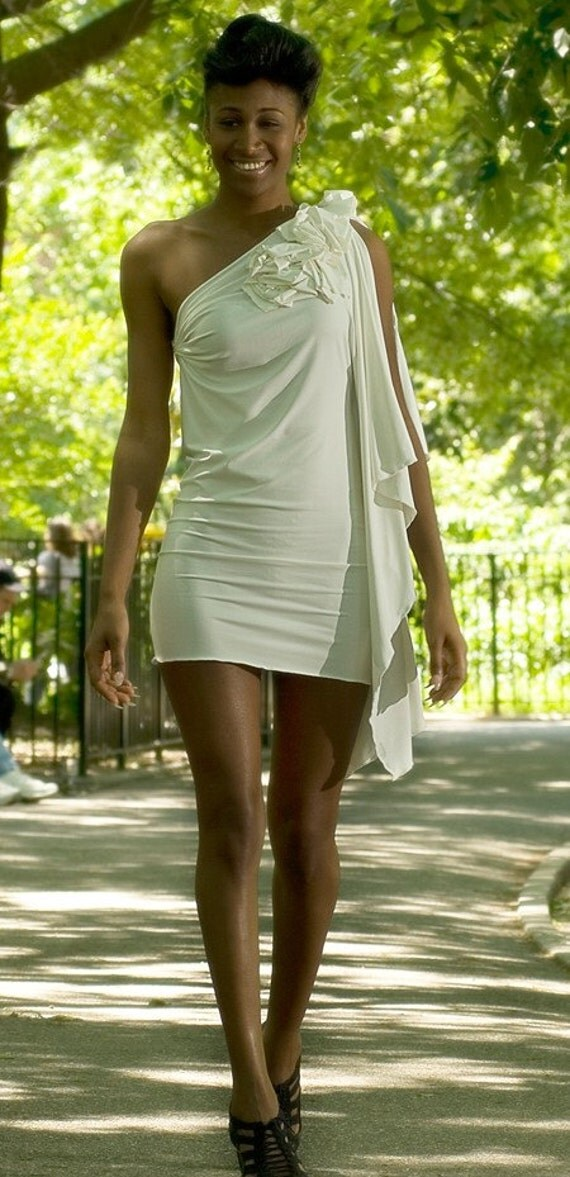 White cotton jersey stretch dress with Ruffle Shoulder