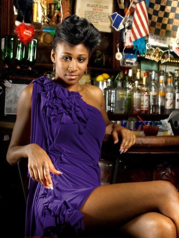Purple Dress With Ruffle Shoulder/cocktail dress/bridesmaid dress/handmade/custom to fit by Cheryl Johnston