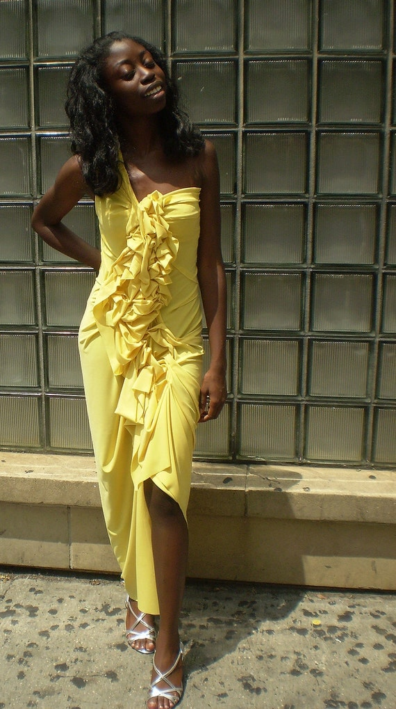 Yellow Long One Shoulder Ruffle Dress/bridesmaid dress/handmade/prom dress/one of a kind designed by Cheryl Johnston