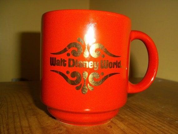 Vintage 80s orange Walt Disney  mug with gold logo