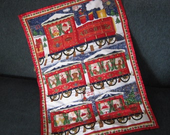 Advent Calendar  Father Christmas Train wallhanging, Christmas Countdown, Boy Christmas Gift