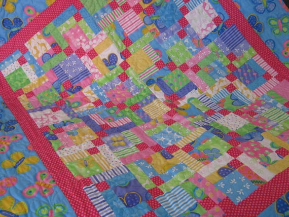 Baby Girl Quilt with Butterflies and Flowers