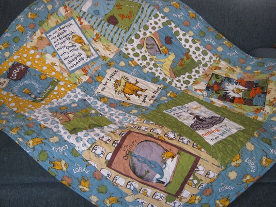 Organic Cotton Baby  Quilt The Lorax Dr Suess  MADE TO ORDER