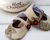 Chocolat Linen Mary Jane Baby Girl Shoes with Embroidered Accents and Circle Buckle Detail