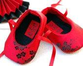 SALE Double Happiness Red Brocade Ballet Baby Girl Shoes with Satin Ribbons