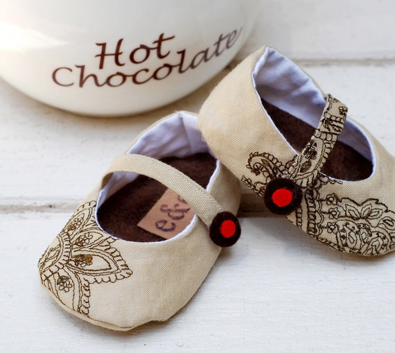 Upcycled Linen Maryjane Shoes with Embroidered Accents for Baby Girl