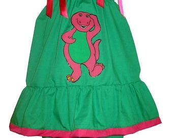 Pillowcase Dress & Pants Set Barney Dress Pantaloons New 12/18M 24M/2T 3t/4T 5/6 Pageant
