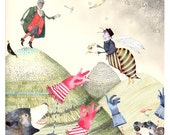 Print Bears and Baron Munchausen illustration Giclee print 8x11
