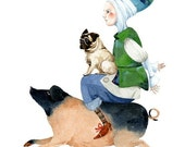 Print Piggy Back Ride illustration 8x11