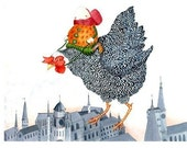 Chicken Print Flying Chicken illustration print 8x11