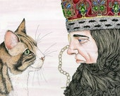 Print Cat and a King illustration 8x11