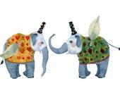 Elephant Print Flying Elephants illustration 8x11