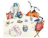 Print Elephant tea party illustration 8x11