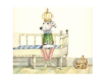 Dog illustration Print Prince in Waiting 8x11
