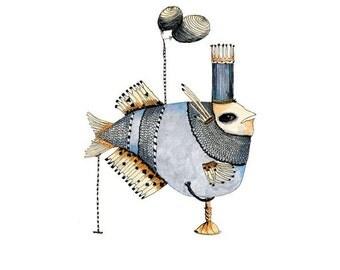 Fish Print Illustration  8x11