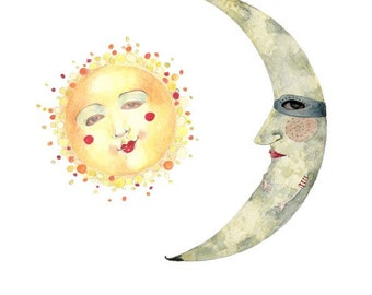 Print Sun and Moon illustration 8x11