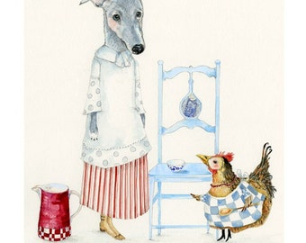 Print Dog Kitchen Maid and Chicken Cook illustration