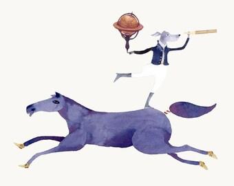 Dog Traveller on Horse Giclee Print 8x11 illustration