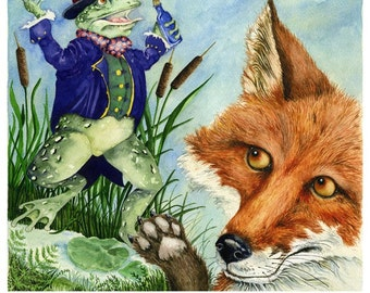 Fox Print The Quack Frog Fable illustration 8x11 fox and frog