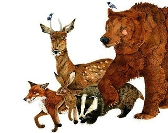 Print Bear and woodland Creatures, Fox, Deer, Hare, Badger art Print 8x11