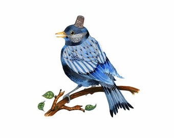 Bird Art Print, BlueBird with Silver Thimble Hat 8x11 illustration