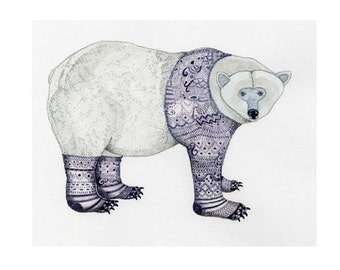 Polar Bear Print Polar Bear in purple Knitwear 8x11 illustration