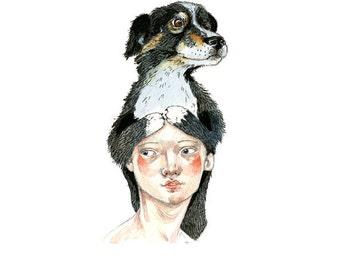 Dog Print illustration Dog Hat 5x7