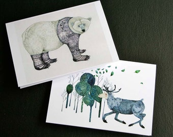 Greeting Card Polar Bear card and Reindeer in wood greeting card 4x6