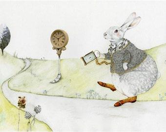 Rabbit Print White Rabbit with Time piece 8x11 illustration
