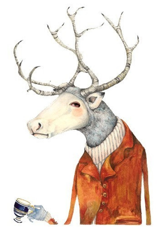 Giclee print Deer in a Jacket, Illustration print 11.7x16.5 print
