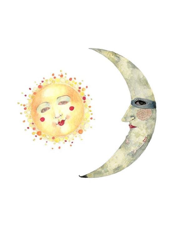Print Sun and Moon illustration 8x11