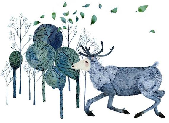 Print Reindeer Runs in Wood illustration 8x11