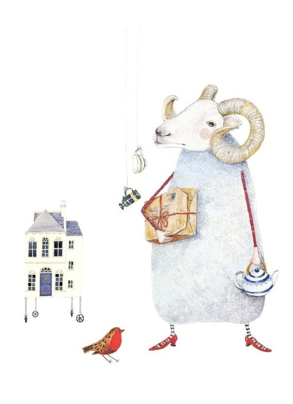 Art Giclee Print Ram, Robin and House illustration 8x11