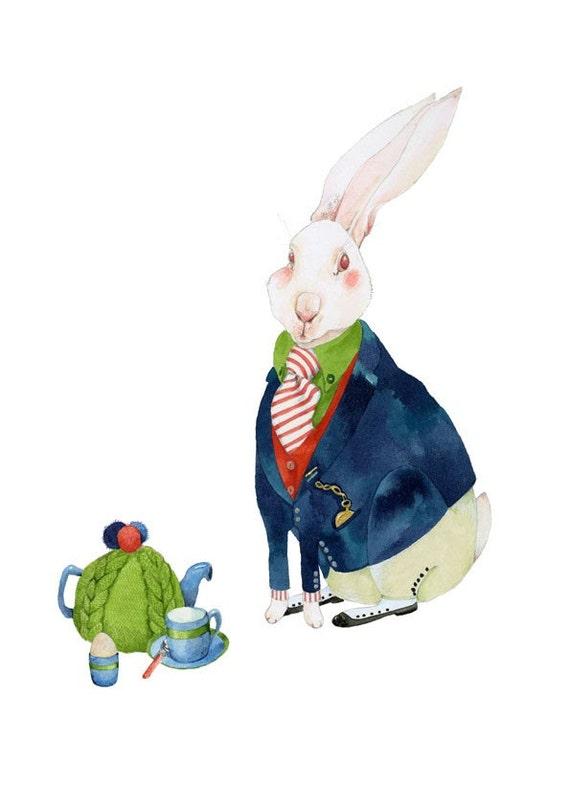 Rabbit Print White Rabbit has breakfast 8x11 illustration