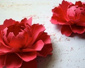 The Peony -  Handmade Paper Flower - Berry - set of two