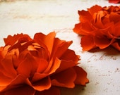 The Peony -  Handmade Paper Flower - Orange - set of two