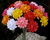 Table Decor - The Peony  -  Handmade Paper Flower - MIX Colors - Set of 20 - Stems Included