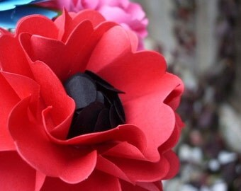Handmade Paper Flower - Oriental Poppy - Red - Set of 5 - stems included