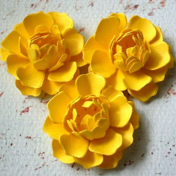 The Bella Paper Flowers - Canary Yellow - set of 3 - as seen in THE PARTY DRESS magazine - Vol. 2