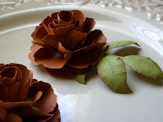 The Lady Flora Handmade Paper Flower - Autumn Wind - set of 2 flowers with leaves