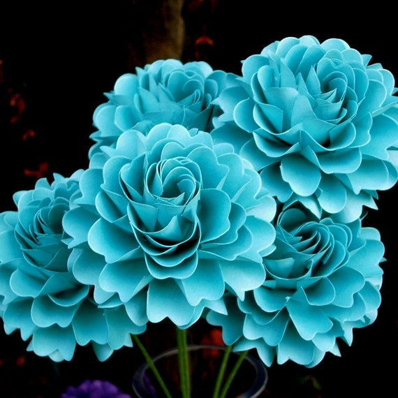 The  Full Bloom Dahlia Handmade Paper Flower   - set of 5 flowers  - Teal Blue - Stems Included -  Custom order available