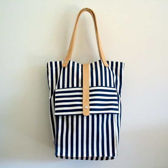 Striped Tokyo Tote with Pocket - Navy Blue and White  - Natural Leather Straps