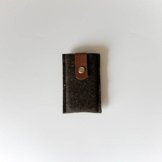 iPhone 3 4 / iPod Sleeve Case in Truffle Brown Designer Wool Felt and Brown Leather - Accessories by Ribandhull on Etsy
