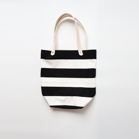 Black and White Striped Tote